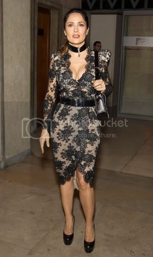 Salma Hayek Lace Dress at Paris