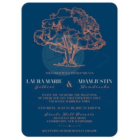 Modern Tree Illustration on Navy Blue Wedding Invitation