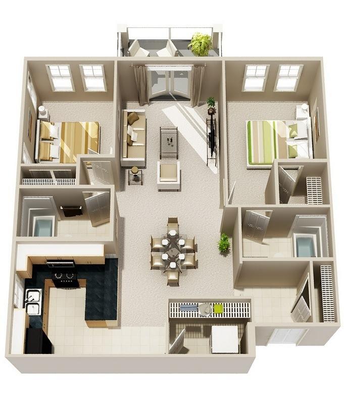 50 Planos De Apartamentos De Dos Dormitorios Tikinti