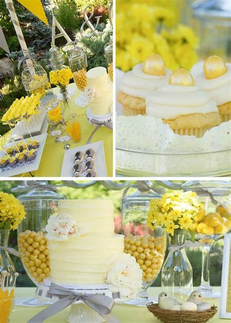 Yellow Grey Gray Garden Wedding Dessert Table Supplies