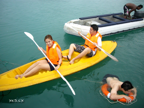 nicole and chic wern kayaking + francis swimming