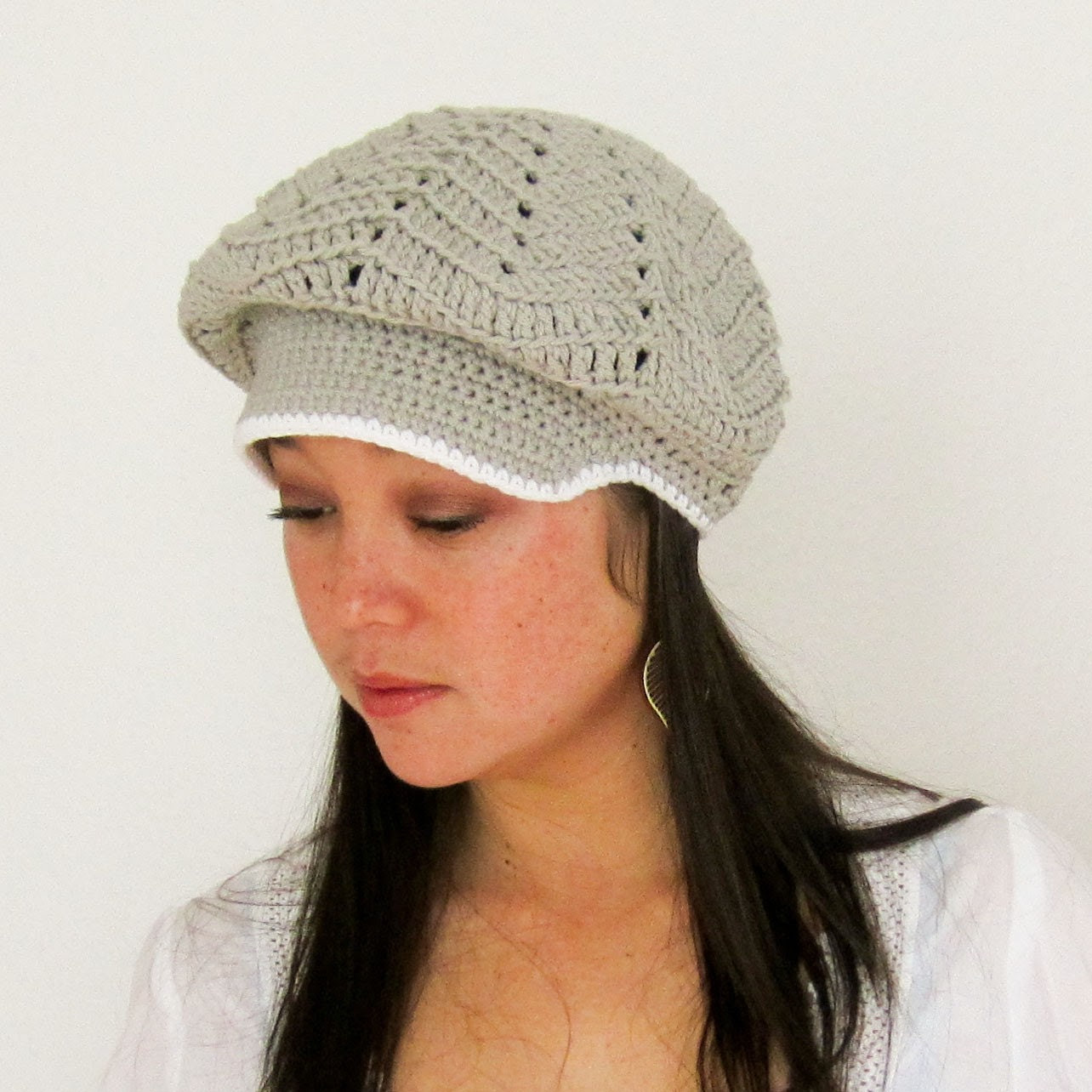 Woman's Newsboy Cap - Slouchy Cotton Crocheted Adult Newsboy Hat in Choice of Color