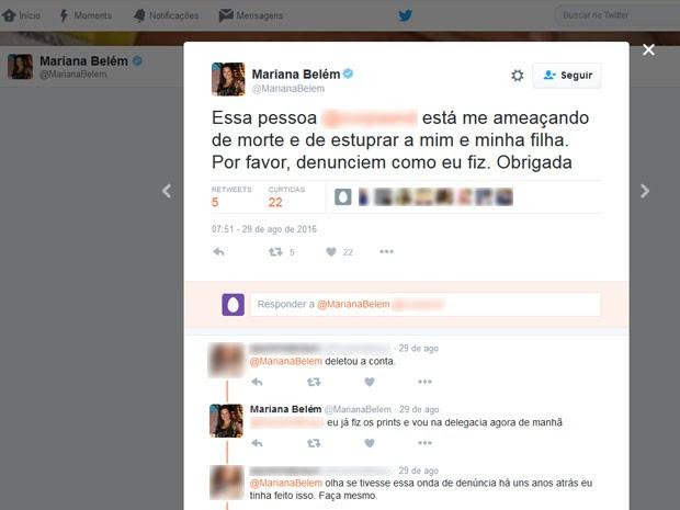 Mariana Belém postou na sua conta do Twitter informação sobre internauta que fez ameaças de morte e estupro contra ela e a filha (Foto: Reprodução / Twitter)