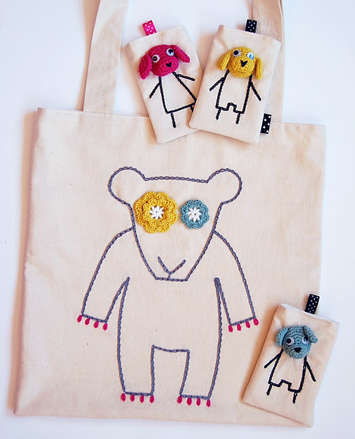 "Handmade ""bear"" tote bag"