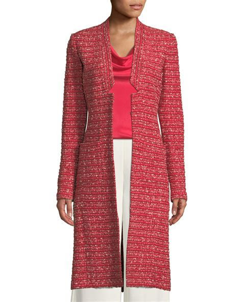 St. John Collection Boucle Striped Knit Long Jacket
