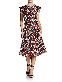 Carolina Herrera Belted Silk Dress