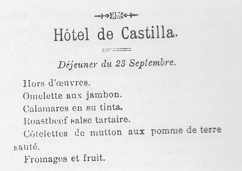 Menú del Hotel Castilla de Toledo del día 23 de septiembre de 1894 publicado en el Diario de Toledo