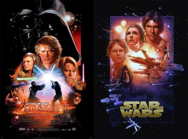 Drew Struzan's movie artwork for STAR WARS: REVENGE OF THE SITH and A NEW HOPE.