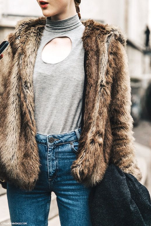 Le Fashion Blog Street Style DIY Inspiration Pfw Faux Fur Coat Grey Circle Cut Out Turtleneck Top Jeans Via Collage Vintage