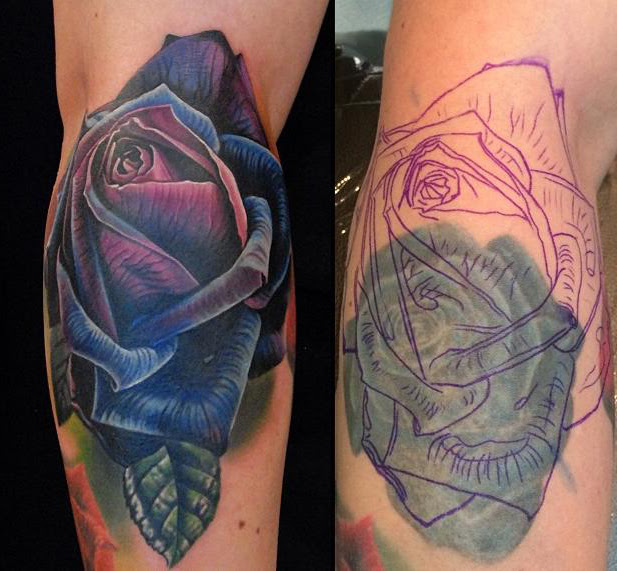 Purple Rose Cover Up Tattoo Best Tattoo Ideas Gallery