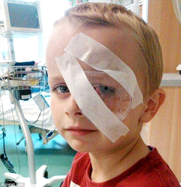 Hospital treatment: Kyle Lawrence, of Cleethorpes, whose left eye was injured by a loom band bracelet