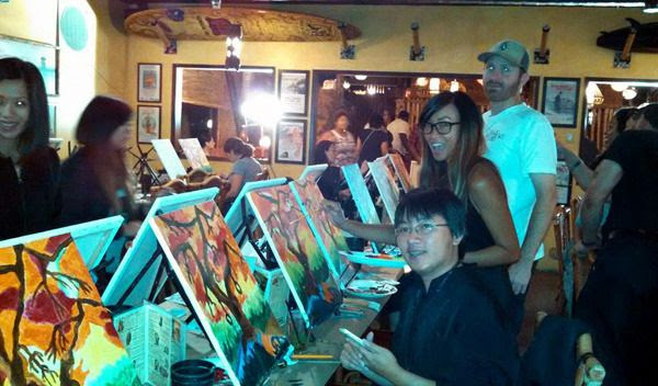 My friends and I paint spooky trees at a restaurant in Huntington Beach...on October 23, 2015.
