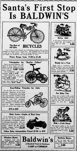 1922 Christmas Bike Ad