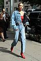 gigi hadid puts a bold spin on the denim on demin trend 02