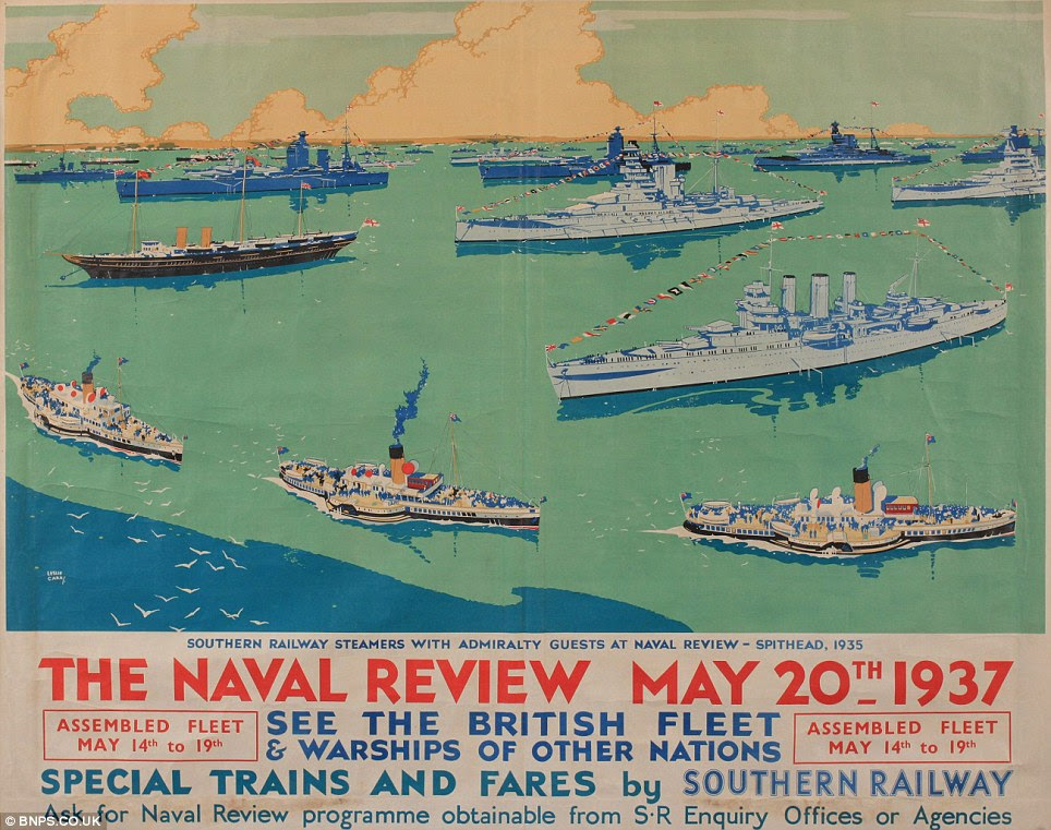 Rare: A poster advertising the Naval Spithead Review in 1937 is one of the earliest in the collection