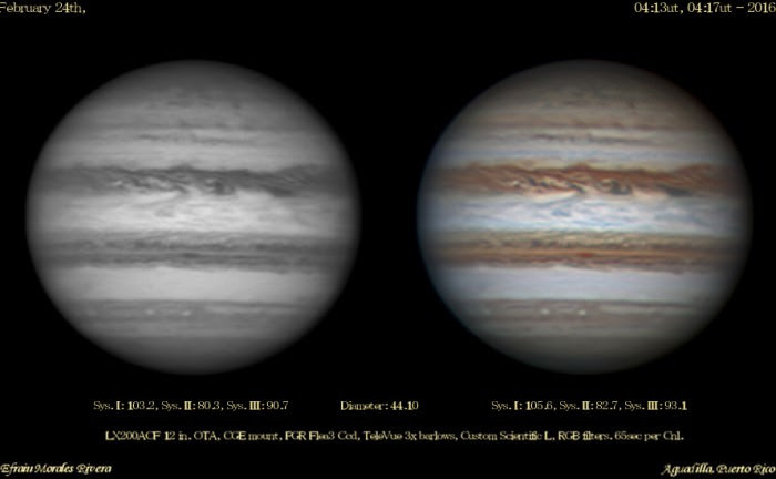 Getting closer... Jupiter, imaged on February 24th. Image credit and copyright: Efrain Morales