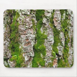 Pine Tree Bark With Moss mousepad