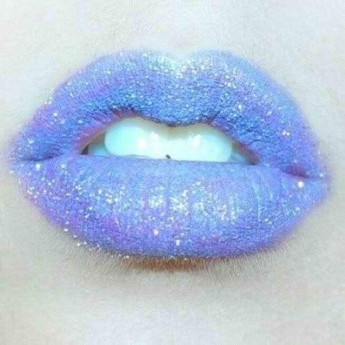 Purple glitter lip, sea punk