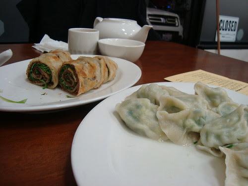 Beef Pancake Roll + Pork Dumpling