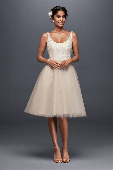 Tulle and Embroidered Lace Short Wedding Dress Style
