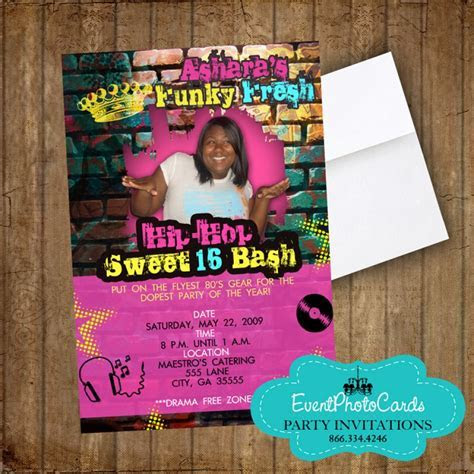 Urban Hip Hop Sweet 16 Photo Invitations