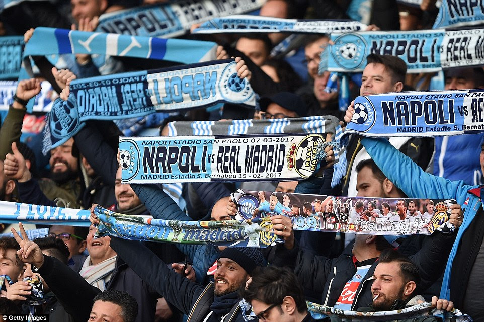 The Naples natives, some of who had been in the ground since 2.30pm, made an enormous racket all night in the stadium