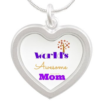 World's Awesome Mom Silver Heart Necklaces