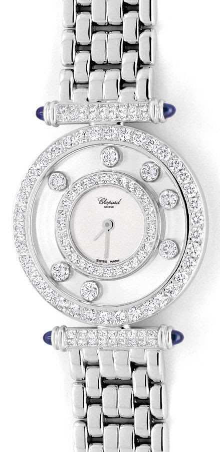 Foto 2, Chopard Happy Diamonds Safire Weissgold Damenarmbanduhr, U2038