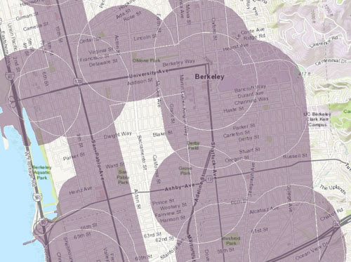The purple areas in Berkeley will be upzoned if the Skinner-Wiener SB827 passes and is signed by Governor Brown.