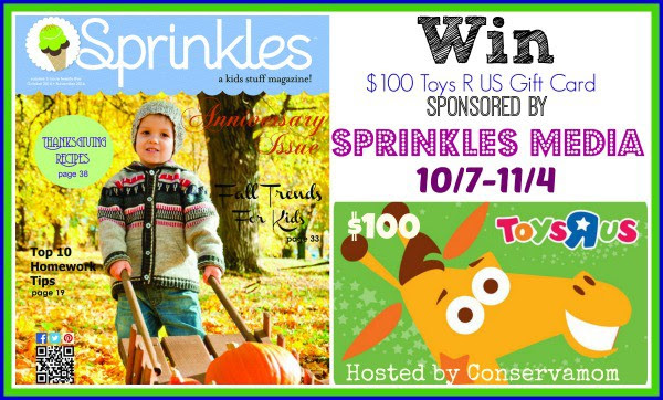 Enter the $100 Toys R US Gift Card Giveaway. Ends 11/4.