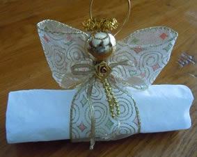 ribbon angel napkin ring