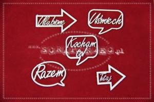 Strzałki słówka handscript font po polsku