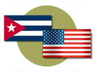 Cuba and U.S. flags