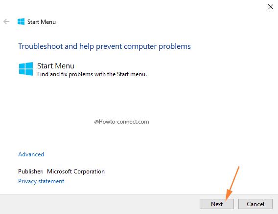 Start Menu Troubleshoot tool Next button