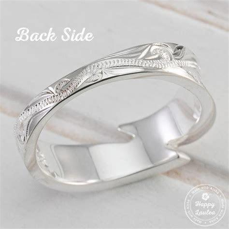 925 Sterling Silver Hand Engraved Maile Leaf Motif Ring
