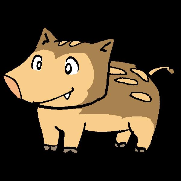 猪左向きのイラスト かわいいフリー素材が無料のイラストレイン