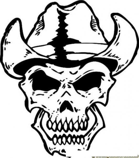 El Vaquero De La Muerte Para Pintar Y Colorear Dibujo De Craneo Con