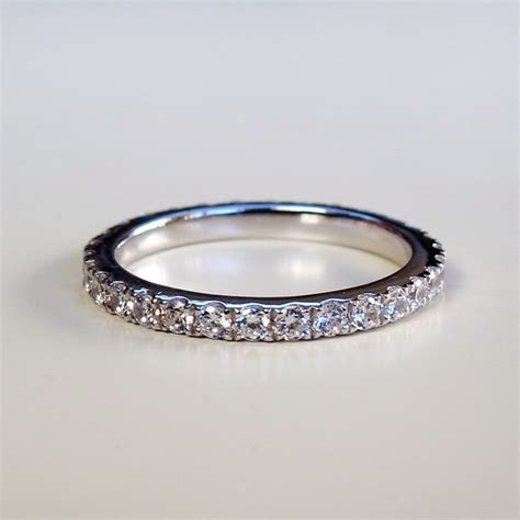 Micro Pave Wedding Band Synthetic Diamonds Ring For Women