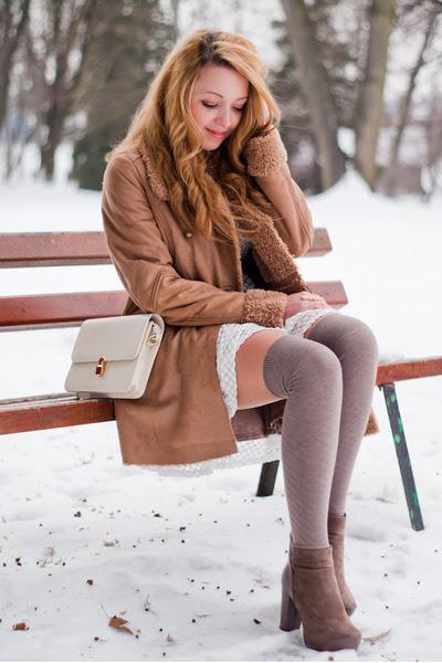 Light-brown-romwe-boots-white-romwe-dress-light-brown-stradivarius-coat