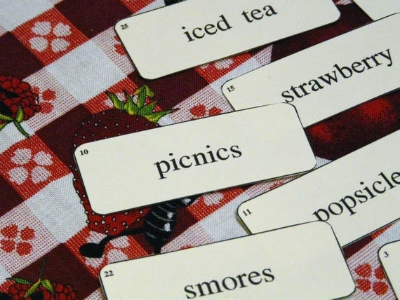 27 Preemie Mini SUMMER time Flash Cards -  new 2012 paper labels altered art signs words scrapbooking uprint