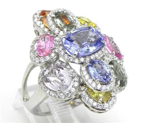Ladies 18k White Gold 8.53 Cts Multi Colored Sapphire