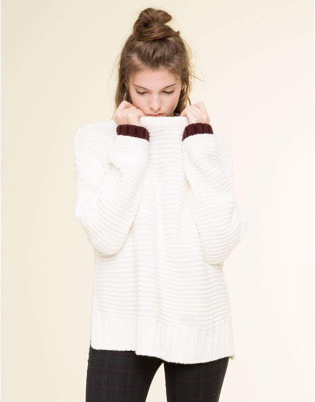 Pull&Bear - mujer - pacific girls - jersey grueso puños contraste - hielo - 09559337-I2015