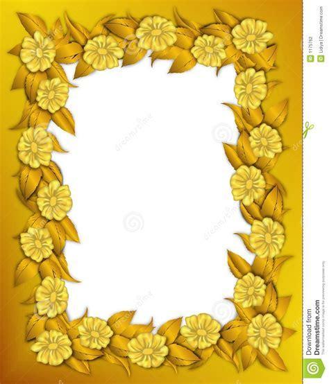 Frame   Gold Flowers stock illustration. Illustration of