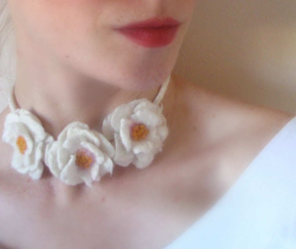 Delicate White Hand Felted Flower Necklace