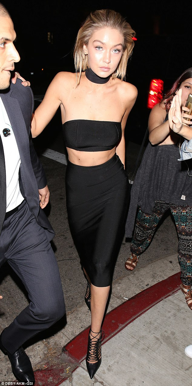 Make way:Gigi Hadid turned heads at Justin Bieber's American Music Awards after-party, held at The Nice Guy in West Hollywood on Sunday night
