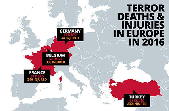 Risultati immagini per terrorist attacks map 2016