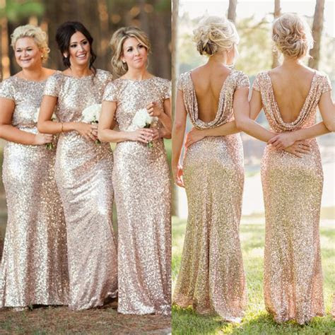 Sequin Shiny Open Back Bridesmaid Dresses,Long Bridesmaids