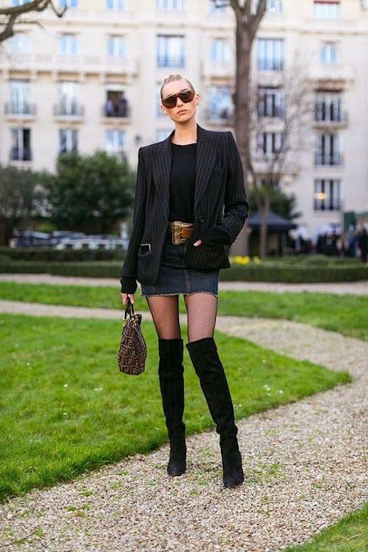 Le Fashion Blog Sunglasses Power Blazer Black Sweater Denim Mini Skirt Over The Knee Boots Via Harpers Bazaar