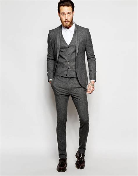 ASOS Super Skinny Suit In Grey Dogstooth   Wedding bells