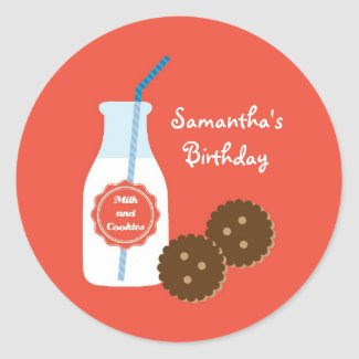Milk and Cookies Birthday Favor Sticker